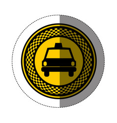 Emblem taxi front car icon vector