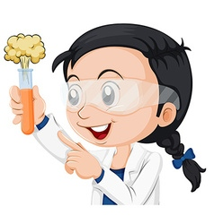 Female scientist holding beaker vector