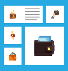 flat icon purse set of currency wallet payment vector image vector image