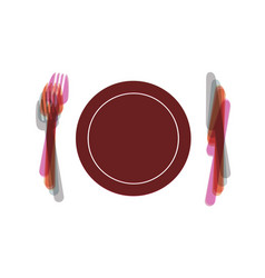 Fork plate and knife colorful icon vector