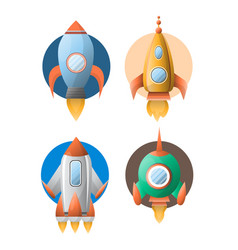 Four rockets colorful flat poster isolated vector