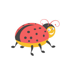 funny ladybug with black spots onred wings vector image