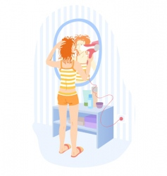 girl with hairdryer vector image