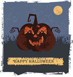happy halloween card with pumpkin head vector image