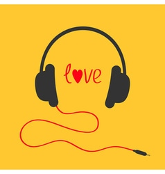 Headphones with red cord Love card Red text heart vector image