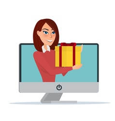 Internet marketing beautiful woman gives a gift vector