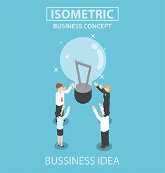 Isometric businessman and businesswoman getting go vector image vector image