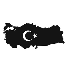 Map of turkey with national flag symbols icon vector