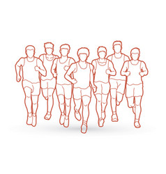 Marathon runners group of people running men run vector