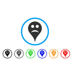 sad smiley map marker rounded icon vector image vector image