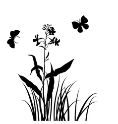 Silhouettes of flower and grass with vector