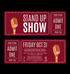 Stand up show tickets with retro microphone vector