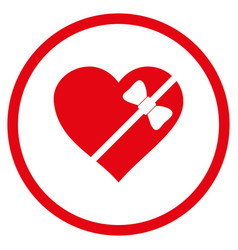 tied love heart rounded icon vector image