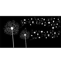 White social network flower vector