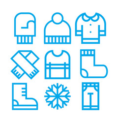 Winter clothing icons vector