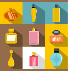 woman perfume icons set flat style vector image
