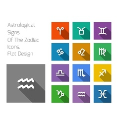Zodiac symbol icons on color background vector