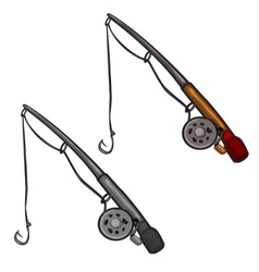 Two spinning rod with fishing line and hooks vector