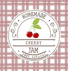 Jam label design template for cherry dessert vector image