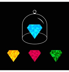 Polygonal diamond set Pink blue yellow green Glass vector image