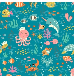 Happy underwater life pattern vector