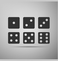 Set of six dices flat icon on grey background vector