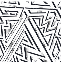 Monochrome grunge geometric seamless pattern vector