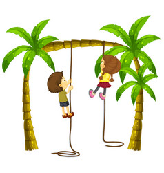 Kids climbing rope on the tree vector