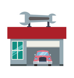 Garage door mechanic vector