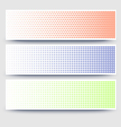 Halftone abstract 3d banners collection on white vector