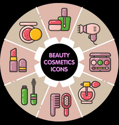 Infographic set of beauty cosmetic icons vector