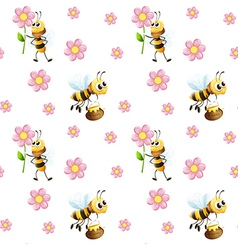 Seamless design with bees and flowers vector
