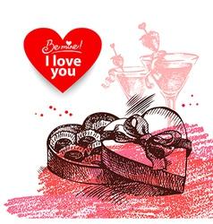 Valentines Day vintage background vector image