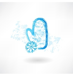 Mitten and snowflake grunge icon vector