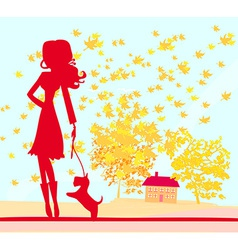 Girl walking with her dog in autumn landscape vector