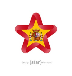 Star with spain flag colors and symbols vector