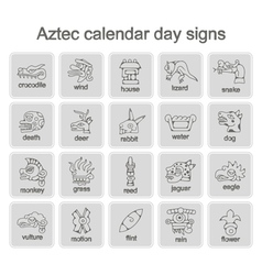 Icons with aztec calendar day signs vector