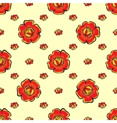 Red flowers seamless pattern background vector