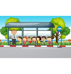 Teacher and children waiting for bus vector