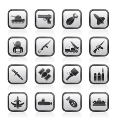 Weapon and arms icons vector