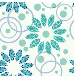 Geometric pattern of circles and flowers vector