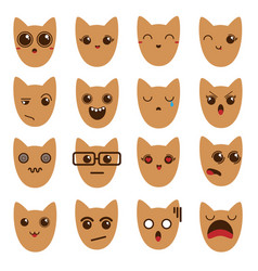 A set of emoticons emoticons emoji cat vector