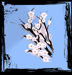 abstract blue and blossom vector image vector image