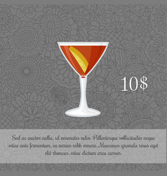 Alcoholic manhattan cocktail card vector