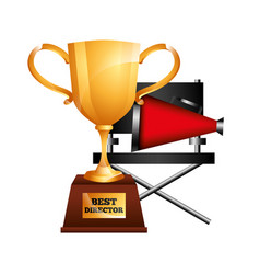 Best director trophy cup award and chair megaphone vector