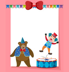 border template with circus bear and clown vector image