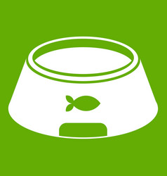 Bowl for animal icon green vector