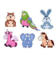 cartoon animals collection vector image vector image
