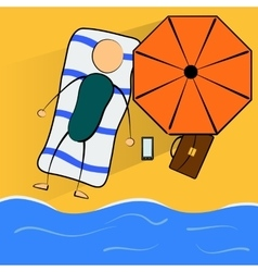 Cartoon businessman relaxes on the beach vector