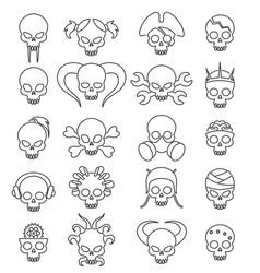 cartoon cute skull linear icon set vector image